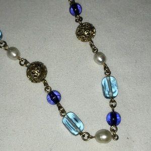Lia Sophia filigree, blue pearl beaded necklace